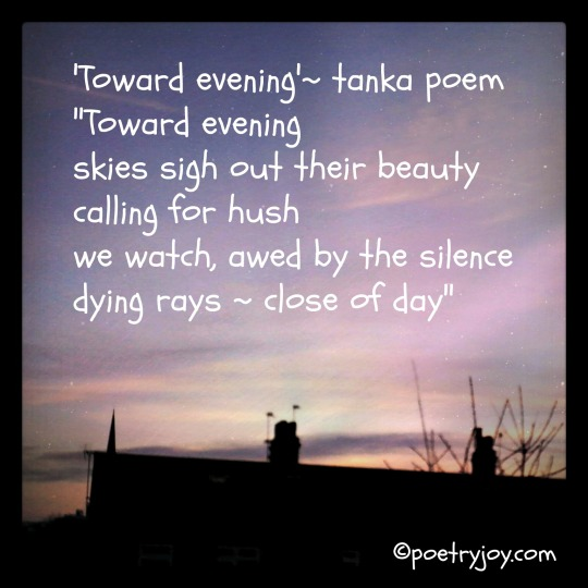 dusk ~ toward evening tanka poem pin