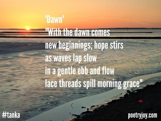 dawn beach tanka poem pin