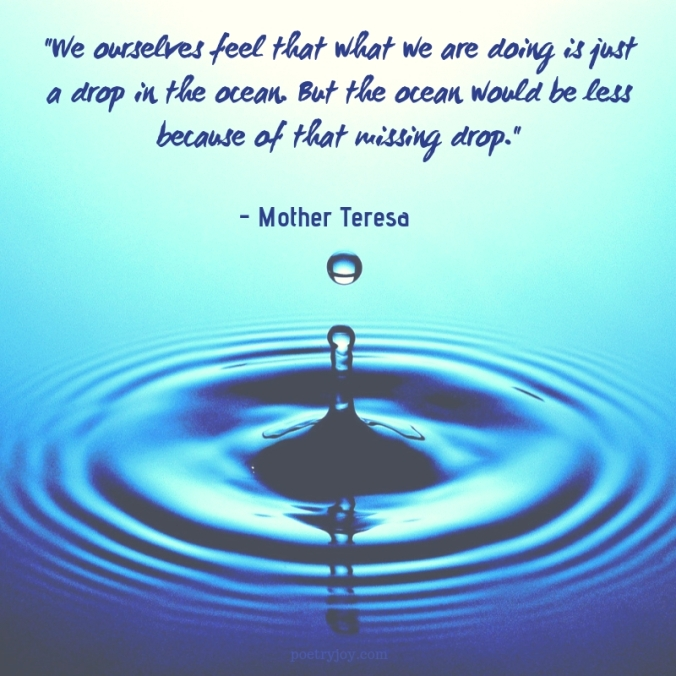 one - Mother Teresa quote _We ourselves feel that what we are doing is just a drop in the ocean. But the ocean would be less because of that missing drop._ @poetryjoy.com