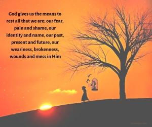place - tree - girl - birds - sunset #FMF - resting ourselves in God quote (C) joylenton @poetryjoy.com
