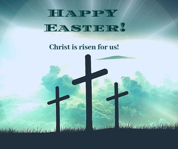 reliquaries - Happy Easter - cross - bright sky @poetryjoy.com