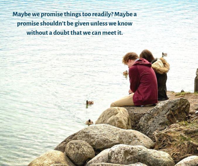 Maybe we promise quote - couple sitting on boulders by the sea (C) joylenton @poetryjoy.com