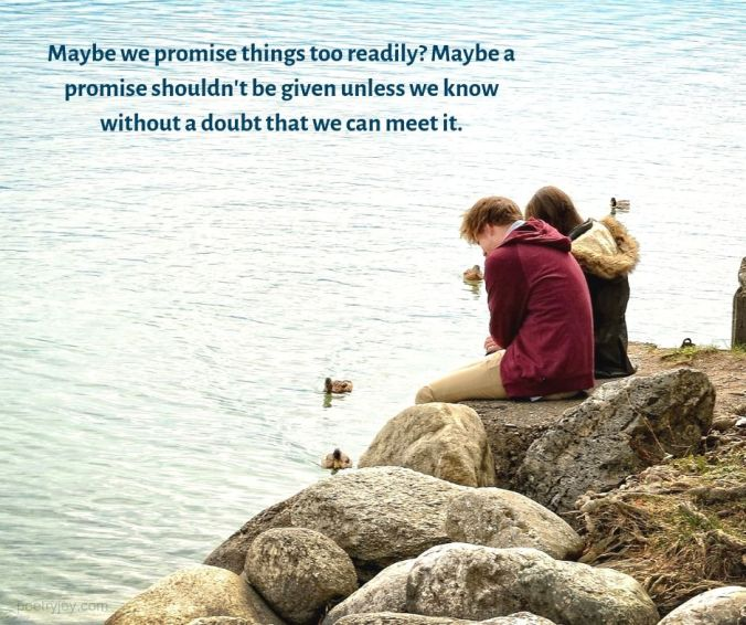 Maybe we promise quote - couple sitting on boulders by the sea (C) joylenton @poetryjoy.com