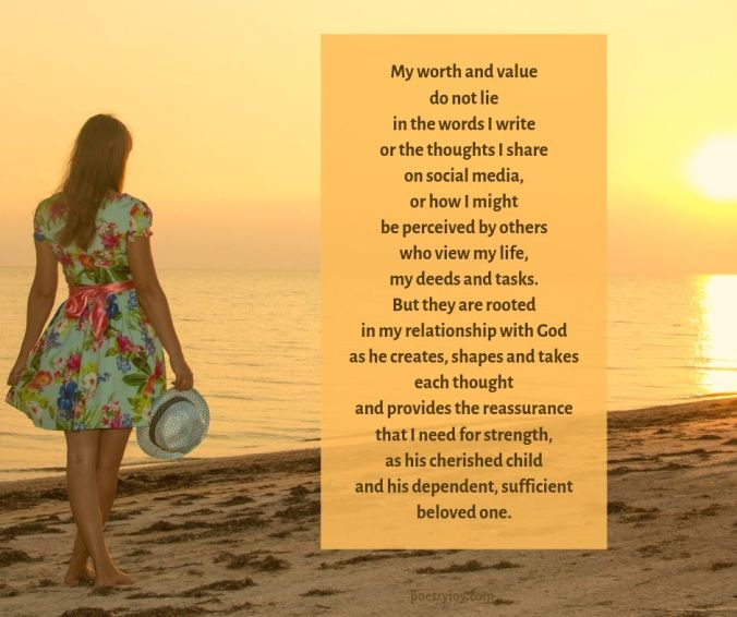 goal - pausing poem excerpt (C) joylenton @poetryjoy.com - girl at the beach - worth and value
