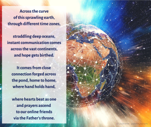 connections - earth - globe - network - making connections poem excerpt (C) joylenton @poetryjoy.com