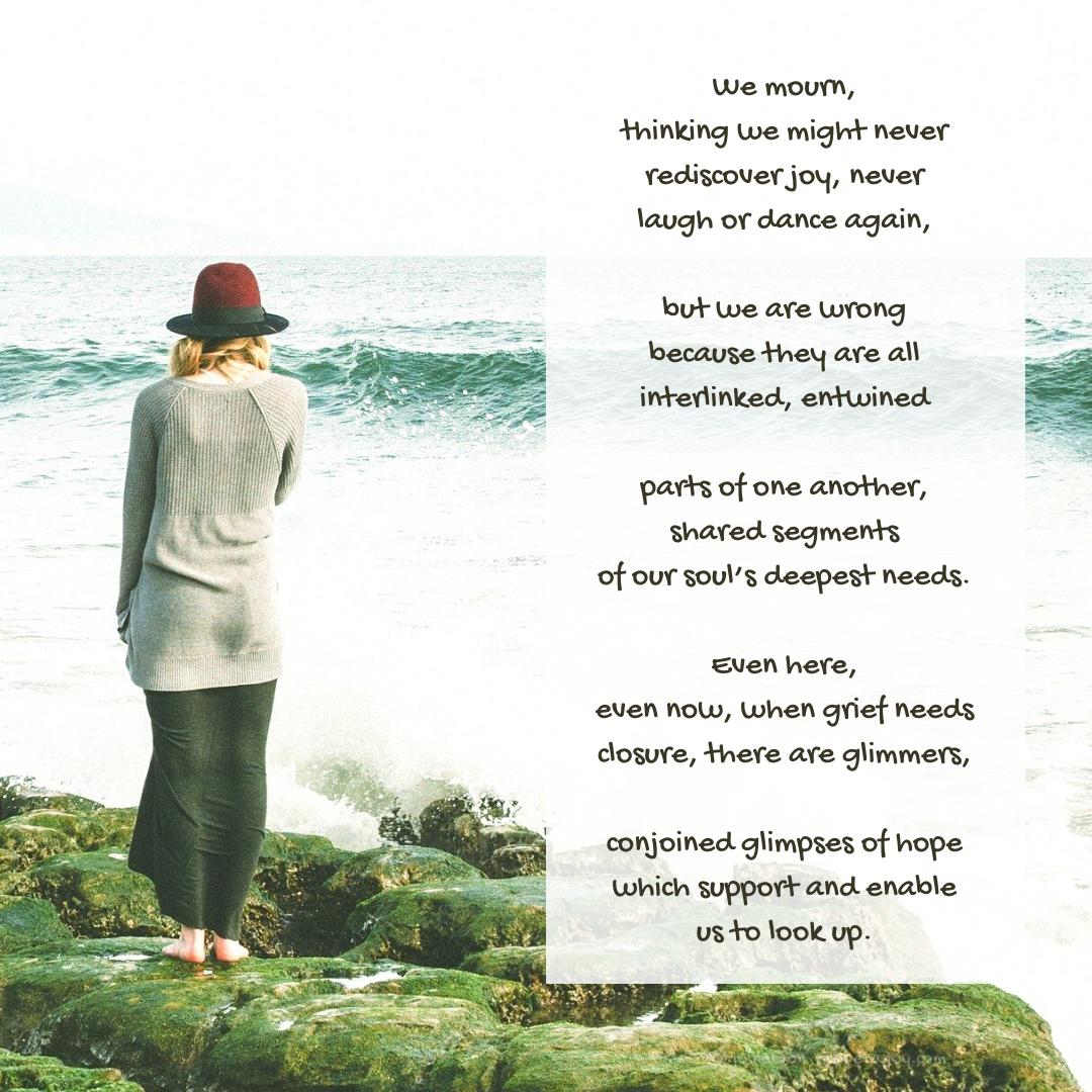 interlinked - woman watching the waves - poem excerpt (C) joylenton @poetryjoy.com