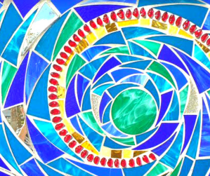 healing - mosaic - labyrinth - stained glass - from broken shards to restful heart - poetryjoy.com