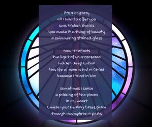 healing - circle of stained glass - cross in the background poem excerpt (C) joylenton @poetryjoy.com