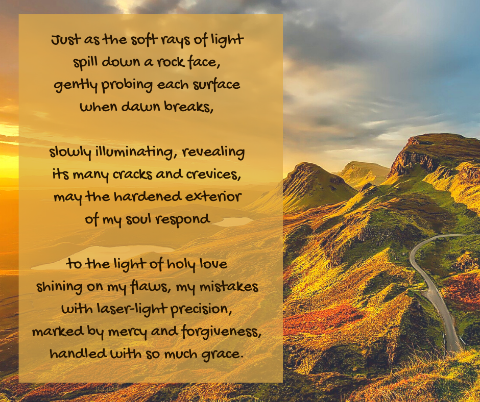 light - dawn breaking over rocks - illuminating poem excerpt (C) joylenton @poetryjoy.com