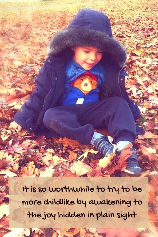 autumn - child sitting in leaves - it is so worthwhile quote (C) joylenton @poetryjoy.com